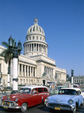 Vintage Cars and Capitol Building  Havana  Cuba