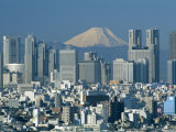 City Skyline and Mount Fuji  Tokyo  Honshu  Japan