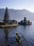 Lake Bratan  Pura Ulun Danu Bratan Temple and Boatman  Bali  Indonesia