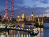 Millennium Wheel and Houses of Parliament  London  England