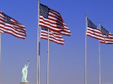 Statue of Liberty and Us Flags  New York City  USA