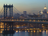 Manhattan Bridge and Empire State Bldg  New York  USA