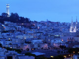 Telegraph Hill and North Beach  Coit Tower  San Francisco  California  USA