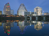 City Skyline Along Town Lake  Austin  Texas  USA