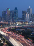 Skyline and Stemmons Freeway  Dallas  Texas  USA