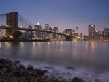 Lower Manhattan and Brooklyn Bridge  New York City  USA