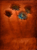 Four Blue Flowers in Copper Grass