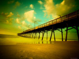Deserted Pier under Turquoise Sky