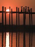U Bein Bridge  Taugthaman Lake  Amarapura  Mandalay  Myanmar