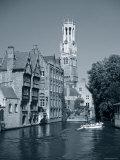 Belfry and Canal  Bruges  Belgium