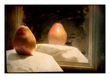 Pear against Framed Mirror
