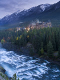 Banff Springs Hotel from Surprise Point and Bow River  Banff National Park  Alberta  Canada