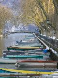 Boats Along Canal du Vasse  Annecy  Haute-Savoie  France