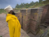 Priest Outside the Sunken Rock Hewn Church of Bet Giyorgis  Lalibela  Ethiopia