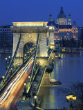 Chain Bridge and Danube River  Budapest  Hungary