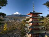 Mount Fuji and Temple  Fuji-Hakone-Izu National Park  Japan