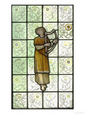 Woman Playing Harp on Stained Glass Window