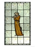 Woman Playing Pipes on Stained Glass Window