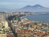 Mt Vesuvius and View over Naples  Campania  Italy