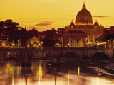 St Peter's Basilica and Ponte Saint Angelo  Rome  Italy
