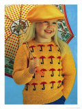 Girl in Novelty Umbrella Knitwear