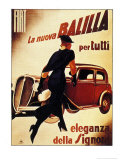 1930&#39;s Lady Running Towards Fiat Car  La Nuova Balilla per Tutti Eleganza Della Signora