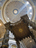 Detail of Bernini&#39;s Baroque Baldachin  St Peter&#39;s Basilica  Rome  Italy