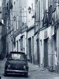 Fiat Driving in Narrow Street  Sassari  Sardinia  Italy