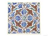 Symmetrical Floral Decoration on Four Tiles  16th Century