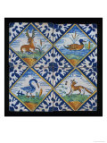 Reclining Stag  Duck  Crane  And Fox on Four Tile Panel  c1600-50