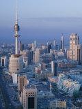 Aerial over Hilalli Street Towards Liberation Tower  Kuwait City  Kuwait