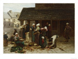 The Marketplace of Ploudalmezeau  c1877