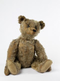 Teddy Bear in Gold Yorkshire Cloth Plush  with Black Thread Embroidered Nose  Mouth and Claws