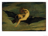 Ariel  from the Tempest  A Naked Boy Riding a Large Bat  c1826