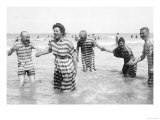 Ostend Seaside  Five Striped Bathers  c1900