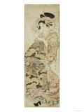 Courtesan Wearing Dragon Pattern Kimono