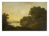 Lake Scene with Boat and Anglers