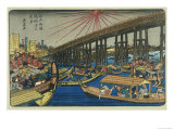 People Enjoying the Cool of Ryogoku Bridge