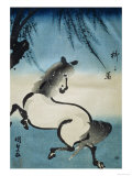Horse Galloping under Willow Tree
