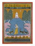 Todi Ragini Playing the Vina to Four Deer