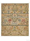 Hearts  Shrubs  Birds  And Men in Dress with an Inscription at the Bottom Sampler