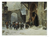 Young Boys Leaving a Church School Building onto a Snow Covered Courtyard  c1853
