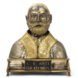 Reliquary Bust of St Antigius in Silvered and Gilt Copper  c1500