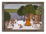 Prince and Attendants Visiting Noble Yogini at an Ashram  India