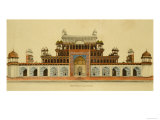 Tomb of the Emperor Akbar at Sikandra  Near Agra  Crawing in Line and Wash Delhi  India  c1816