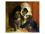 Two Small Dogs with Hats on Their Heads  c1836