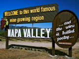 Sign at Entrance of Napa Valley  California