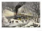 American Railroad Scene in Snow