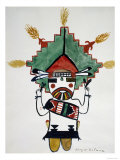 Hopi Kachinas: Small Figure  Kneeling  Wearing Large Headdress