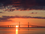 Sun Rises Behind the Sunshine Skyway Bridge  Pinellas County  Florida